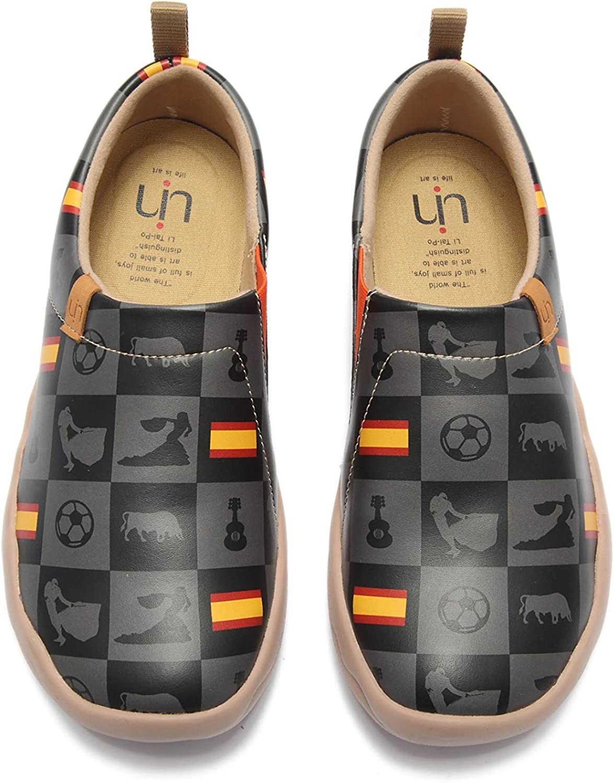 UIN Unisex Sketch Painted Canvas Slip-On shoes Fashion Women Men Travel shoes Black