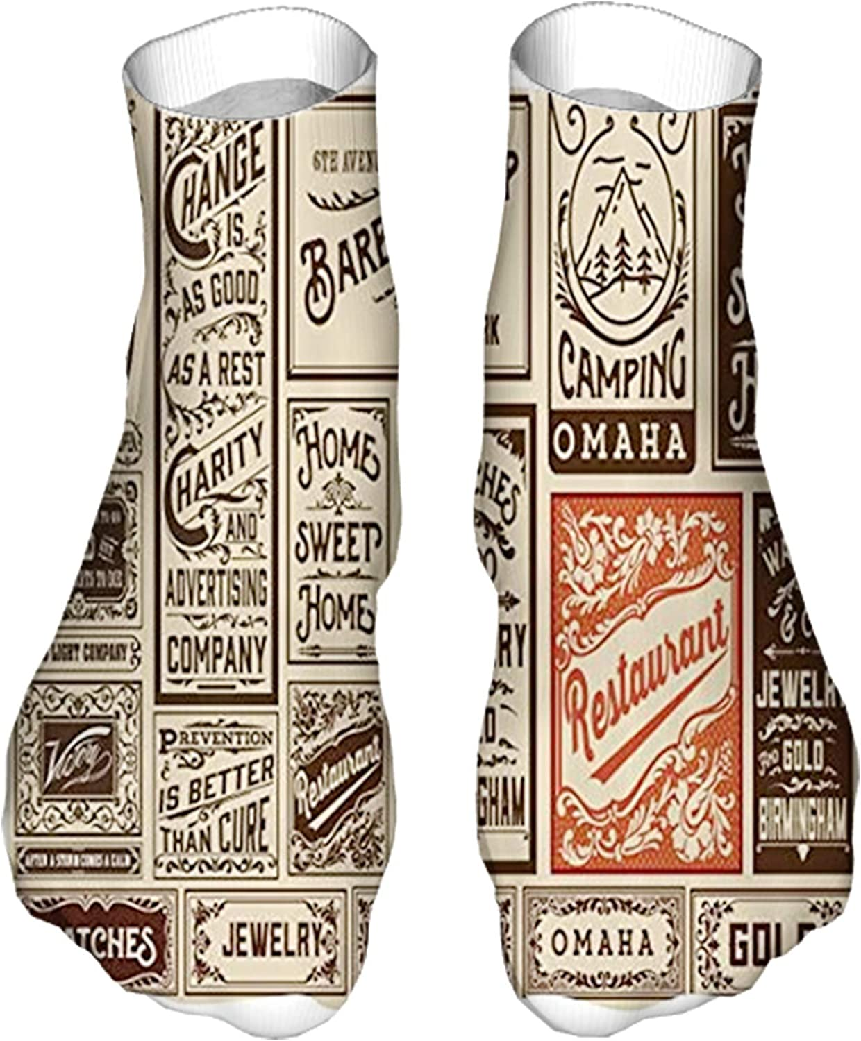 Women's Colorful Patterned Unisex Low Cut/No Show Socks,Composition of Old Advertisement Designs Newspaper Nostalgi