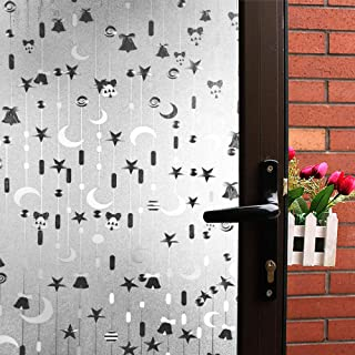 Mikomer Decorative Window Film,Privacy Door Film,Static Cling Glass Film,Star and Luna Pattern/Removable/Stained Glass/Anti UV for Bedroom and Home Decoration,35In. by 78.7In.