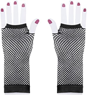 Floranea 2 Pairs Fingerless Fishnet Gloves Nylon Black Vintage Stretchy Long Mesh Gloves for Dress Up Party Girls Theme Party Costume Accessories Dance 1980s Night Club Halloween