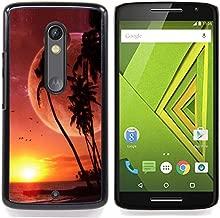 - Alien Planet Beach World Palm Trees Sunset Art - Slim Guard Armor Phone Case- For Motorola Verizon DROID MAXX 2 / Moto X Play Devil Case