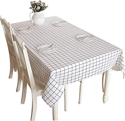 Checkered PVC Oilcloth Plastic Rectangle Waterproof Tablecloths Wipe Clean Furniture Protector for Kitchen Picnic Party Cafe Bar Yaoyan Vinyl Tablecloth Gingham Table Cloth