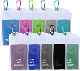 """Sukeen [10 Pack] Cooling Towel (40""""x12""""),Ice Towel,Soft Breathable Chilly Towel,Microfiber Towel for Yoga,Sport,Running,Gy..."""