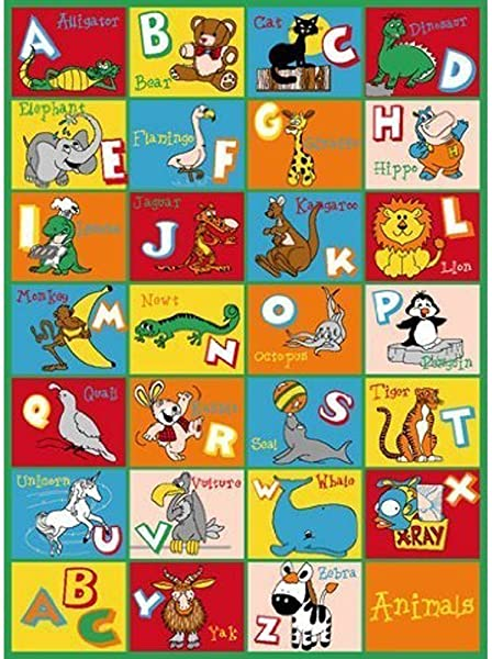 Pro Rugs Kids Rugs Educational Alphabet Animals Rubber Back Non Slip Educational Play Time 8 Feet X 10 Feet