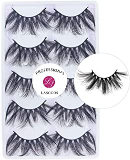 Mink 24mm False Eyelashes Extension LASGOOS Siberian Luxurious Soft Cross Thick Very Long Wedding Drama Party 5 Pairs Fake Eye Lashes (F03-5Pairs)