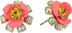 Betsey Johnson - Pink and Gold Flower Stud Earrings