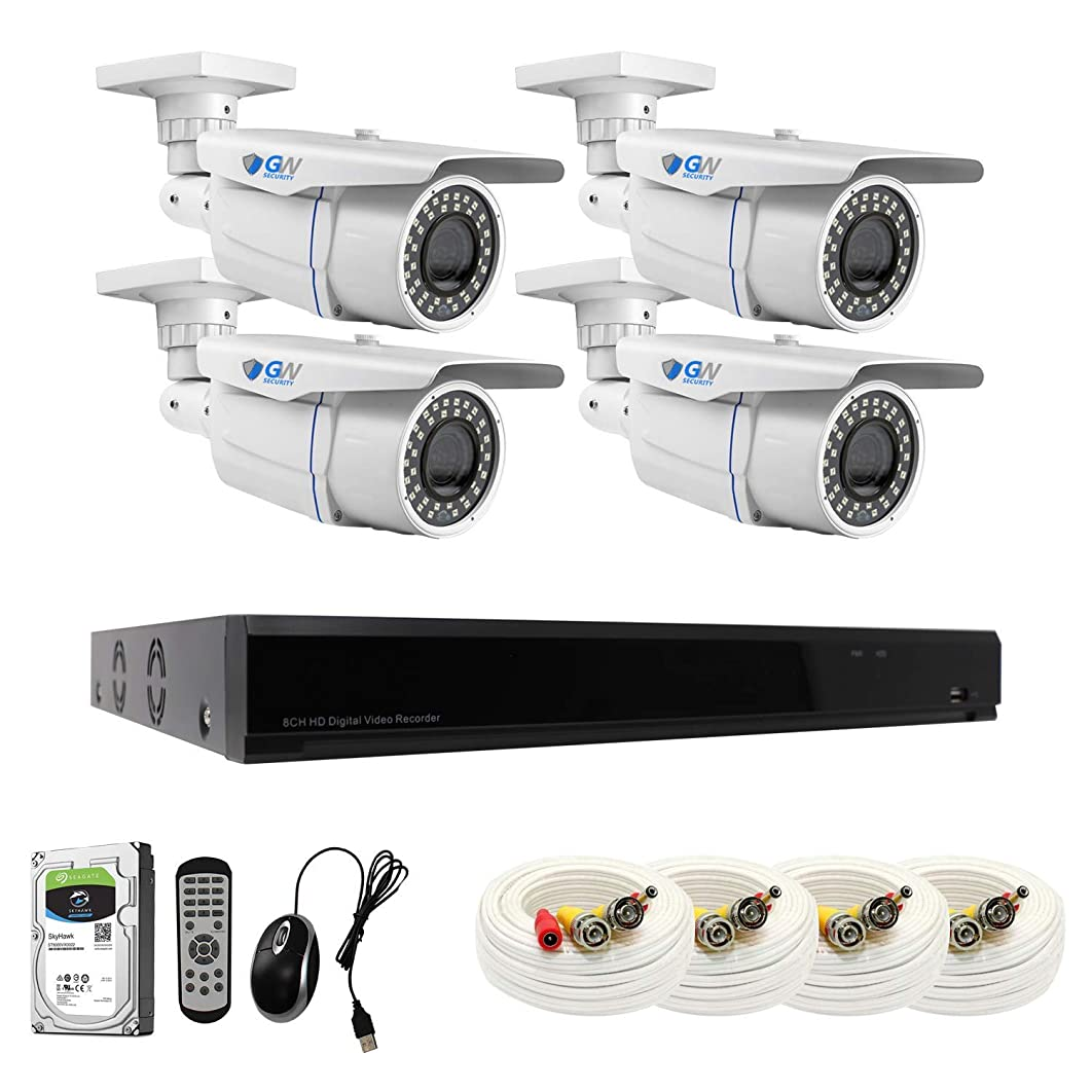 【2019 New】 GW 8CH 4K DVR H.265 8MP Complete Security System with (4) x 4K 2160P Waterproof 2.8-12mm Varifocal Zoom Bullet CCTV Security Cameras, 196ft IR Night Vision, 2TB Hard Drive