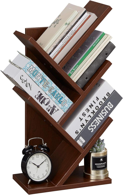 Desktop Bookshelves Storage Rack for CDs Movies Books Cherry 5-Tier Floor Standing Tree Bookcase in Living Room Home Office SUPERJARE Tree Bookshelf