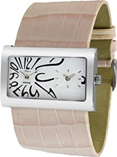 Moog Paris Stars Womens Watch with White Dial, Pale Pink Strap in Genuine Leather -