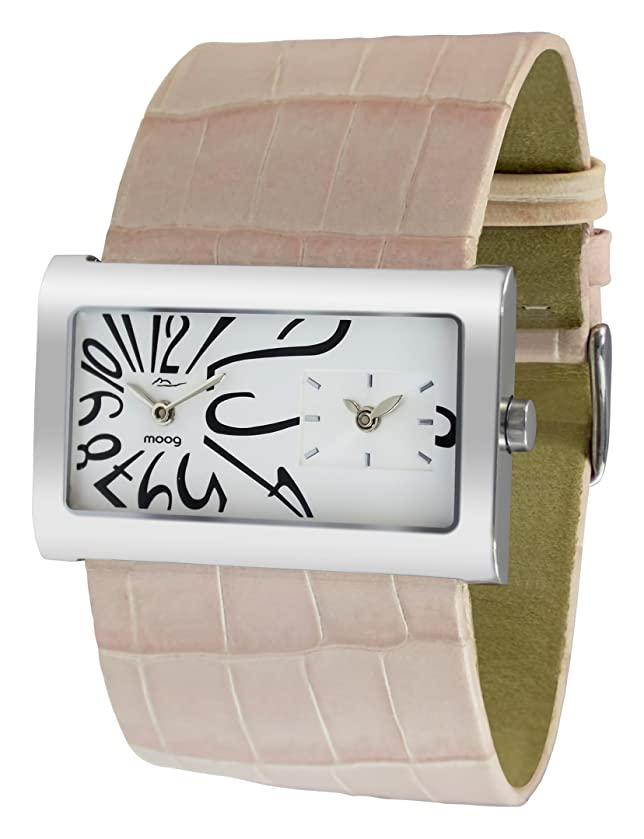 Moog Paris Stars Women's Watch with White Dial, Pale Pink Strap in Genuine Leather - M41612-014