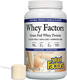 Whey Factors by Natural Factors, Grass Fed Whey Protein Concentrate, Aids Muscle Development and Immune Health, Gluten Fre...