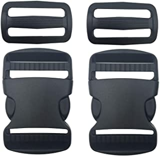 """2 Set 1.5 Inch Flat Dual Adjustable Plastic Quick Side Release Plastic Buckles and Tri-Glide Slides for Luggage Straps Pet Collar Backpack Repairing (Black, Fit for 1.5""""/38mm Webbing Straps)"""