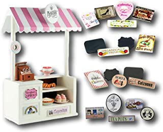 The Queen's Treasures Wooden Concession Shoppe & Changeable Signs Compatible with 18 Inch American Girl Doll, Complete Shop Counter with 5 Sets of Signs to Create Different Shops in One Toy