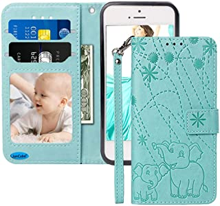 iPhone SE Case, iPhone 5S 5 Case, JanCalm [Detachable Wrist Strap][Elephant/Floral] Pattern PU Leather Wallet Protection [Card Holder/Cash Slots] Stand Flip Magnetic Cover (Teal/Mint/Green)
