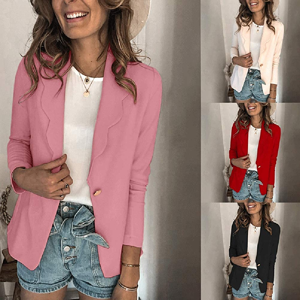 ORANDESIGNE Damen Elegant Langarm Blazer Sakko Einfarbig Slim Fit Revers Geschäft Büro Jacke Kurz Mantel Bolero Mit Knopfleiste Rosa
