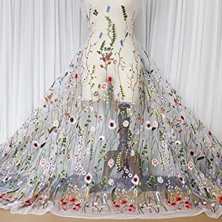 YM YOUMU Blumig Bestickter Spitzenstoff, Mesh-Stoff zum Nähen, Geeignet für Hochzeitskleider, 100x120cm/39.37x47.2 Weiß, Verkauf pro Meter