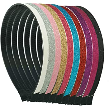 CN Glitter Headband Sparkle Plastic Hair Bands with Teeth Pack of 10