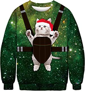 Morbuy Unisex Christmas Cat Pullover Sweatshirts, 3D Print Novelty Xmas Funny Jumpers Long Sleeve