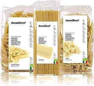 AmoreTerra (18 pz.) Pasta Senatore Cappelli Penne, Spaghetti ed Eliche Bio 500g, Grani antichi, artigianale biologica, tra...