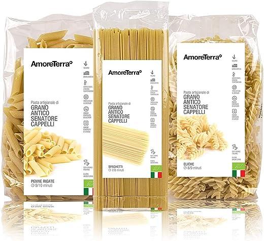Amoreterra (18 pz.) pasta senatore cappelli penne, spaghetti eliche bio 500g, grani antichi, artigianale bio