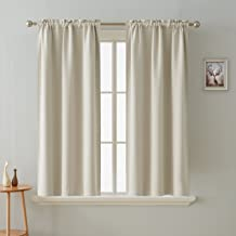 Deconovo Blackout Curtain Room Darkening Thermal Insulated Curtains Rod Pocket Window Curtain for Bedroom Light Beige 38 x 54 Inch 2 Panels