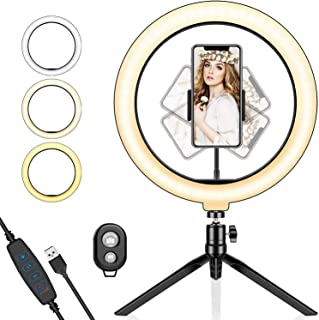 Ring Light with Tripod Stand and Phone Holder, 10.2'' LED Desktop Selfie Ring Light with Remote Control for Live Streaming...