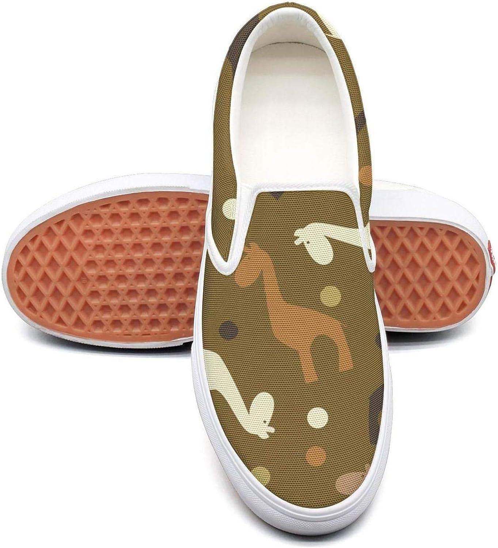 Refyds-es Giraffe Silhouette Womens Fashion Slip on Low Top Lightweight Canvas Cloth shoes
