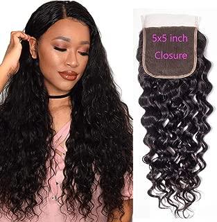RECOOL Hair 5x5 Inch Lace Closure Water Wave Hair Closure 100% Human Hair Wet and Wavy Closure Bleached Knots Natural Color (20 inch 5x5 Closure Free Part)