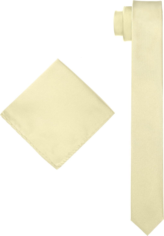 Men's Solid Slim Necktie with Matching Pocket Hanky - Gold
