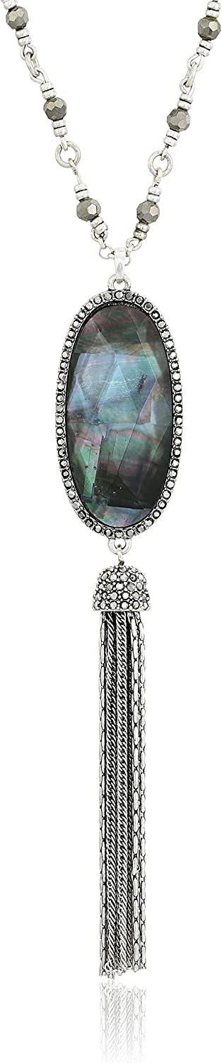 Lucky Brand Mother-of-Pearl Tassel Necklace