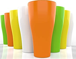Unbreakable Sturdy Plastic Tumbler Cups - 17 oz - Set of 8 – Sturdy Durable Plastic Glasses Set - Break Resistant Reusable Outdoor Drinkware Large Dishwasher Safe Colorful Beverage Cup Tumblers