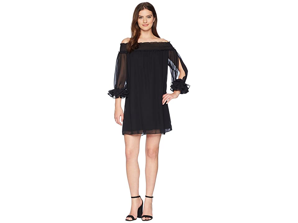 CeCe Shiloh Off the Shoulder Smocked Dress (Rich Black) Women