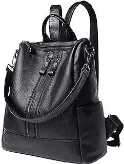 Backpack Purse for Women, PU Leather Women's Shoulder Bag Lady Travel Backpack Waterproof Bag Black