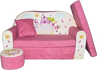 Fortisline LIT Enfant FAUTEUILS CANAPÉ Sofa + Pouf ET Coussin Château Rose W319_09