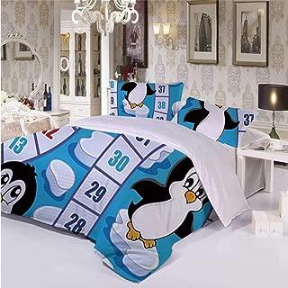 Board Game Soft 3 Piece Bedding Set,Cute Funny Penguins Antarctica Aquatic Environment Iceberg Ocean Happy Animals for Bedroom,Twin