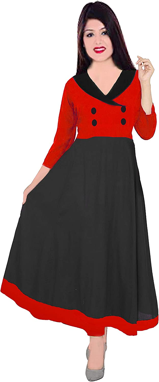 Lakkar Haveli Indian Women's Long Dress Cotton Tunic Wedding Wear Solid Color Frock Suit Ethnic Maxi Dress Black & Red