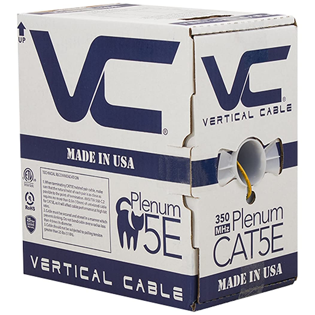 Vertical Cable CAT5E, 350 MHz, UTP, 24AWG, 8C Solid Bare Copper, Plenum, 1000ft, Orange, Bulk Ethernet Cable - Made in USA