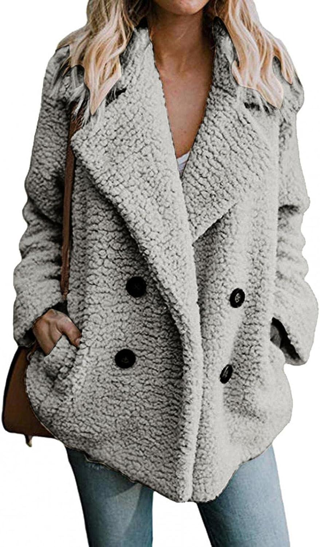 Misaky Women Winter Fleece Coat Cardigan Long Sleeve Lapel Double-faced Fleece Buttons Casual Coat