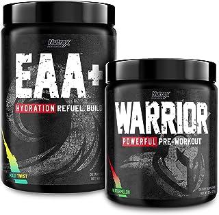 Nutrex Warrior Watermelon High Stim Pre Workout with EAA Hydration Maui Twist Sports Recovery Drink Mix Bundle