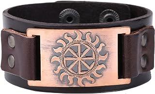Skyrim Wicca Slavic Double Deer Celtic Irish Knot Pattern Wristband Leather Bracelet