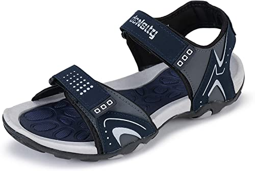 Men S Synthetic Leather Adjustable Strap Sandle Navy Gray Model A4