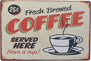 UNIQUELOVER Coffee Signs Kitchen Decor, Fresh Brewed Coffee Served Here Vintage Retro Metal Sign Wall Home Decor 12 X 8 Inches