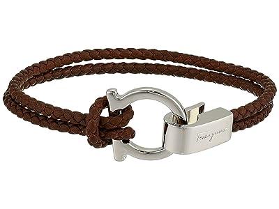 Salvatore Ferragamo Braided Leather Rope Bracelet (Brown) Bracelet