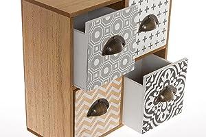 elbmöbel Mini–Cómoda Cómoda pequeña Madera Retro Diseño Joyas–Cómoda