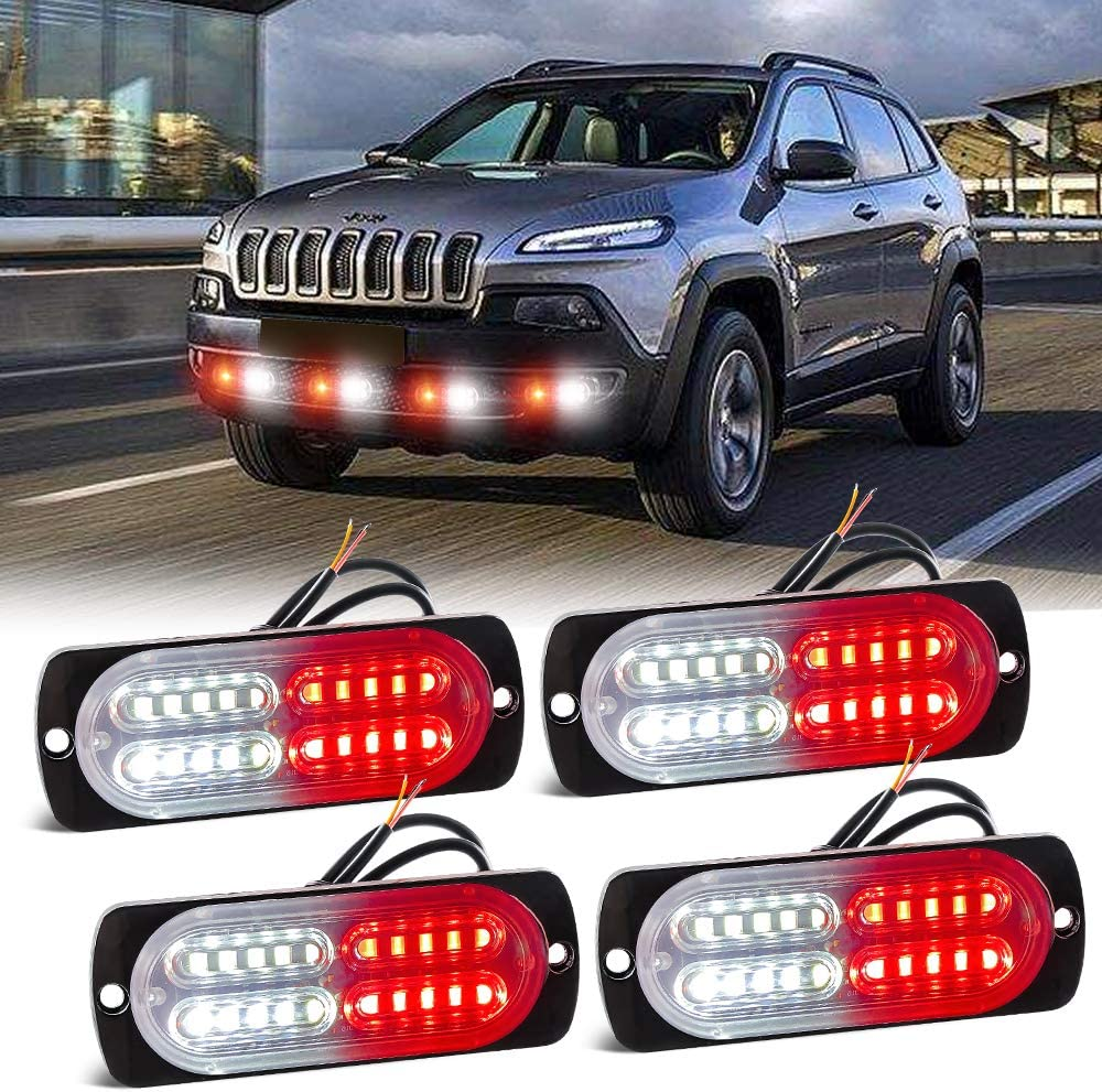 Sidaqi famous 4PCS 25% OFF Red White LED Warning with Strobe 12-24V 18 Lights D