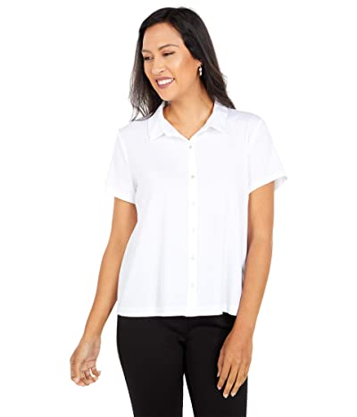 Eileen Fisher Classic Collar Short Sleeve Shirt (White) Women