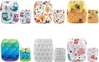 ALVABABY Reuseable Washable Pocket Cloth Diaper 6 Nappies + 12 Inserts 6DM54
