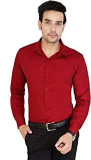 U TURN Men's Cotton Solid Casual Shirt (Maroon_Size_M)