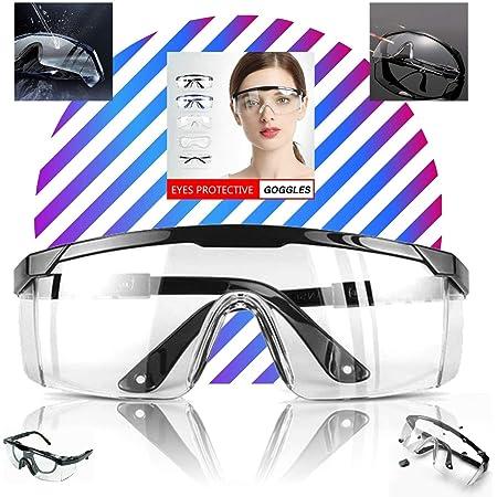 LogicaShop SafEye1 - Occhiali Protettivi Sanitari Virus Antiappannamento Certificati CE EN166 Sopra Protezione Occhi Chimica Trasparenti Compatibile Lavoro Laboratorio Chimico Uomo Donna (1)