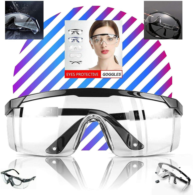 LogicaShop Virus - Gafas protectoras sanitarias para mujer con certificación CE EN166, protección de ojos química, transparentes, de laboratorio, químico, para hombre, compatibles con prevención de ac